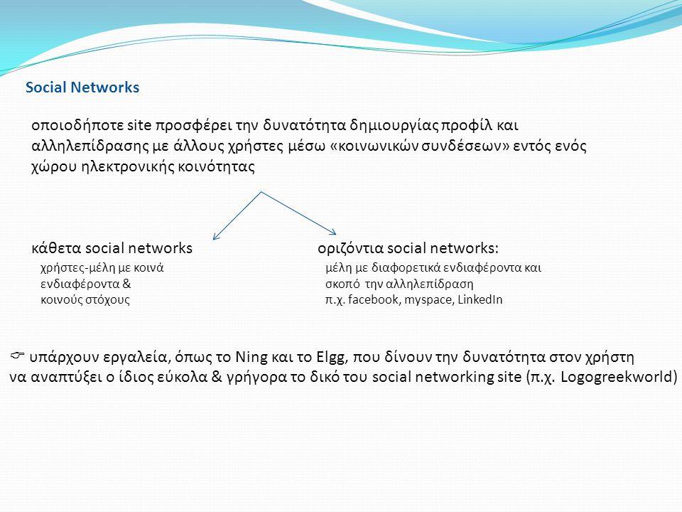Social Networks οποιοδήποτε site προσφέρει την δυνατότητα δημιουργίας προφίλ και αλληλεπίδρασης με άλλους χρήστες μέσω «κοινωνικών συνδέσεων» εντός εν