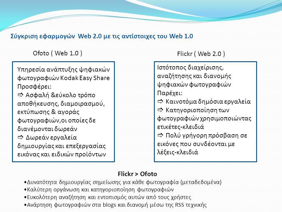Σύγκριση εφαρμογών Web 2.0 με τις αντίστοιχες του Web 1.0 Ofoto ( Web 1.0 ) Flickr ( Web 2.0 ) Υπηρεσία ανάπτυξης ψηφιακών φωτογραφιών Kodak Easy Shar