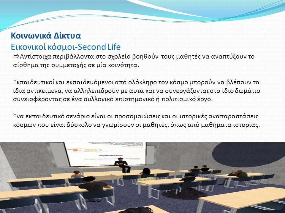 Κοινωνικά Δίκτυα Εικονικοί κόσμοι-Second Life  Aντίστοιχα περιβάλλοντα στο σχολείο βοηθούν τους μαθητές να αναπτύξουν το αίσθημα της συμμετοχής σε μί