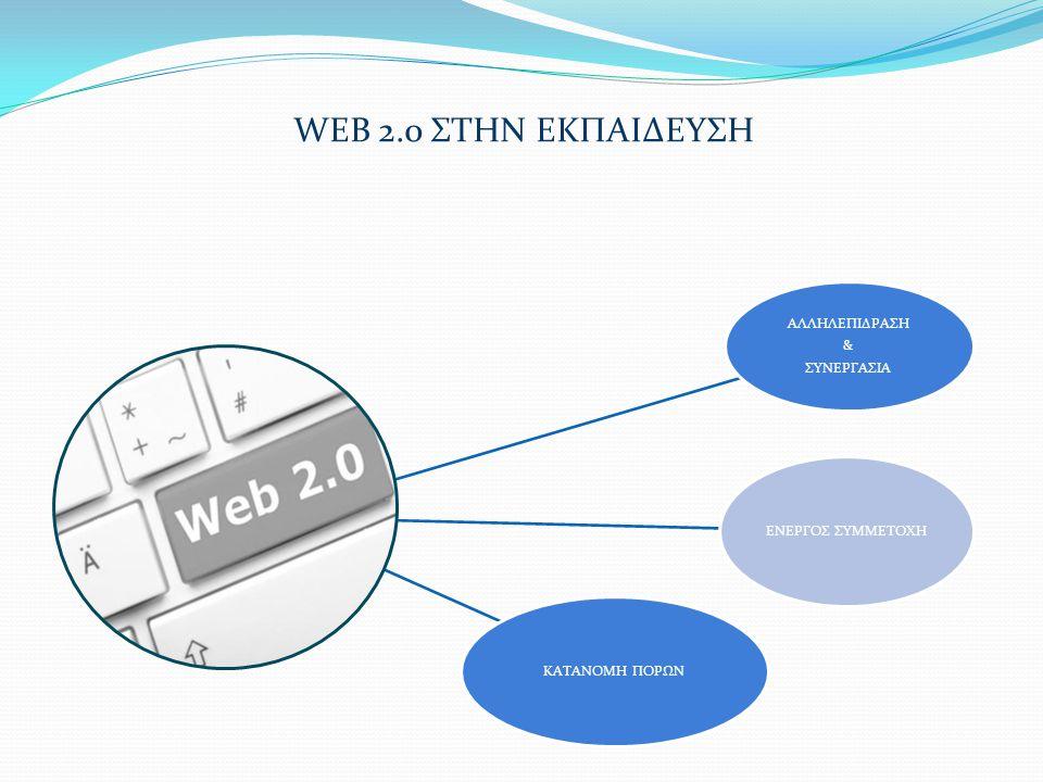 WEB 2.0 ΣΤΗΝ ΕΚΠΑΙΔΕΥΣΗ ΑΛΛΗΛΕΠΙΔΡΑΣΗ & ΣΥΝΕΡΓΑΣΙΑ ΕΝΕΡΓΟΣ ΣΥΜΜΕΤΟΧΗΚΑΤΑΝΟΜΗ ΠΟΡΩΝ