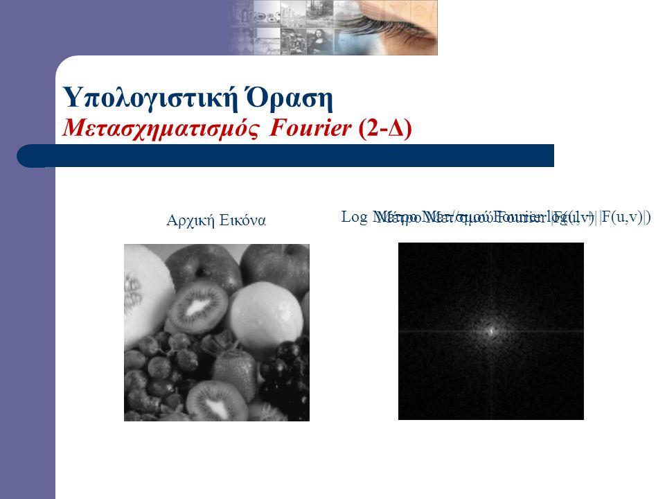 Υπολογιστική Όραση Διακριτός Μετασχηματισμός Fourier - Αντίστροφος Μονοδιάστατος (1-Δ) Αντίστροφος Διακριτός Μετ/σμός Fourier Διδιάστατος (2-Δ) Αντίστ