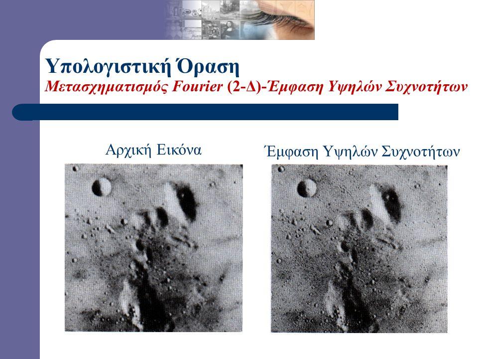 Αρχική Εικόνα + Φιλτραρισμένη Εικόνα = Έμφαση Υψηλών Συχνοτήτων Υπολογιστική Όραση Μετασχηματισμός Fourier (2-Δ)-Έμφαση Υψηλών Συχνοτήτων