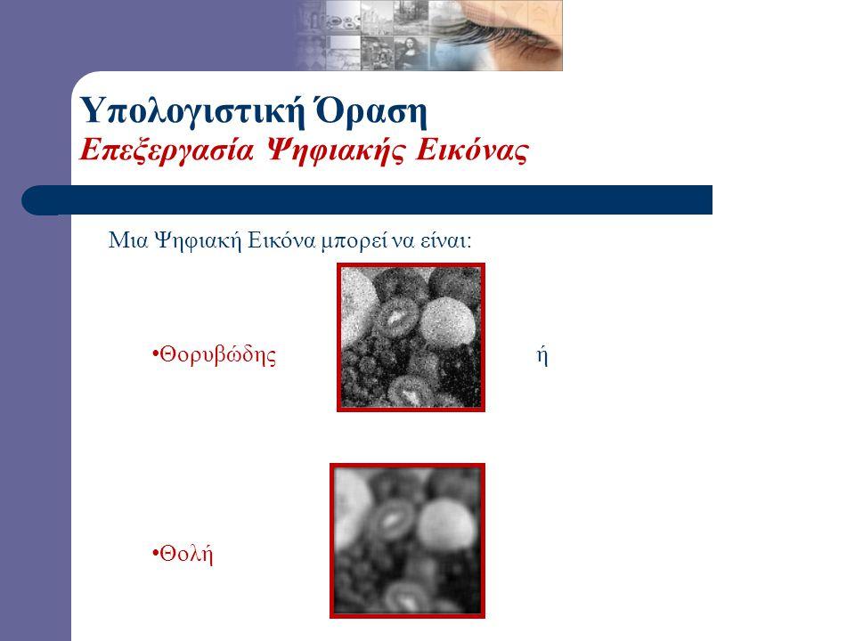Ψηφιακή Εικόνα = Ένα 2-Δ Μητρώο ή ένα 2-Δ Μητρώο διανυσμάτων. Κάθε στοιχείο της εικόνας ονομάζεται εικονοστοιχείο (pixel) και συναναστρέ- φεται με μία