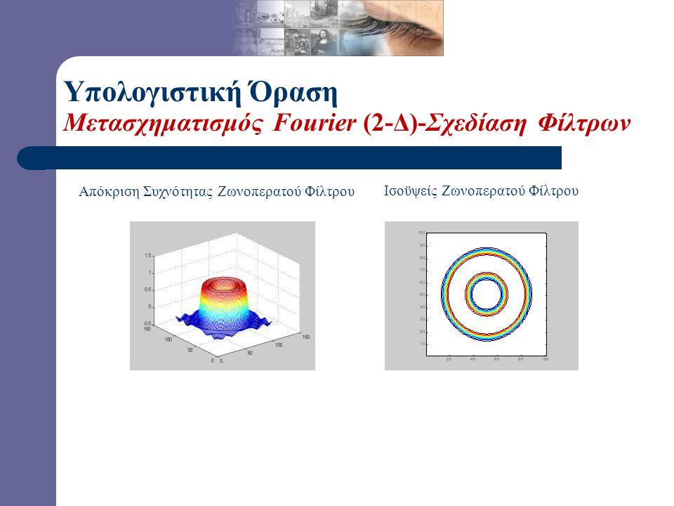 Υπολογιστική Όραση Μετασχηματισμός Fourier (2-Δ)-Σχεδίαση Φίλτρων Σχεδίαση 2-Δ Φίλτρων: Επεκτάσεις των 1-Δ Μεθόδων, αλλά και με μεθόδους που δεν έχουν
