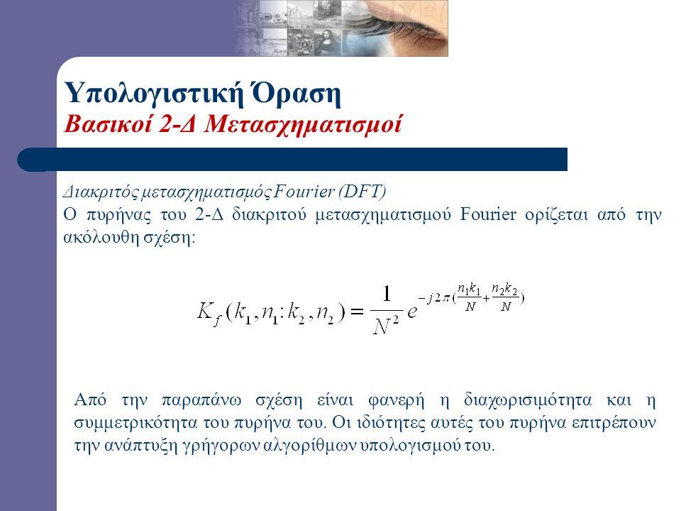 Υπολογιστική Όραση Βασικοί 2-Δ Μετασχηματισμοί Ενας πυρήνας είναι διαχωρίσιμος αν ικανοποιεί την παρακάτω σχέση: • Η διαχωρισιμότητα του πυρήνα ενός μ