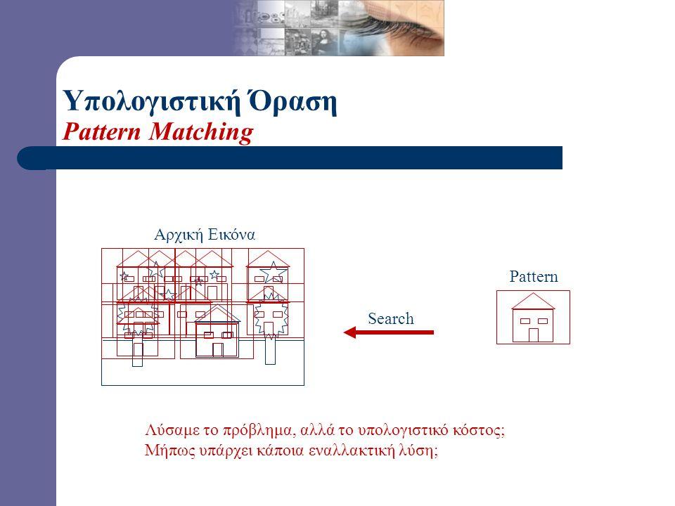 Υπολογιστική Όραση Pattern Matching Αρχική Εικόνα Pattern Search Πώς μπορούμε να λύσουμε το παραπάνω στοιχειώδες πρόβλημα;