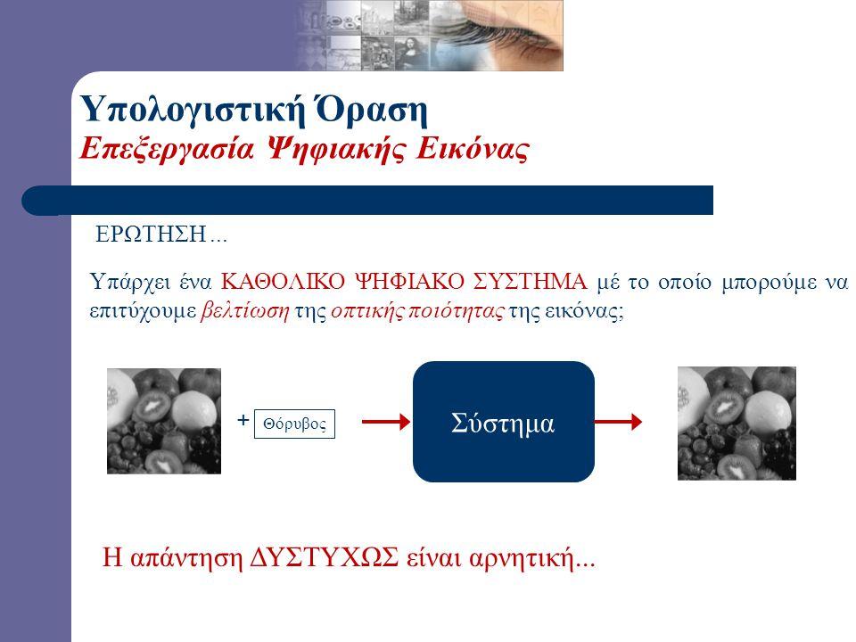 Υπολογιστική Όραση Επεξεργασία Ψηφιακής Εικόνας Βασικός σκοπός της Ψηφιακής Επεξεργασίας είναι η βελτίωση της οπτικής ποιότητας της εικόνας. Σύστημα
