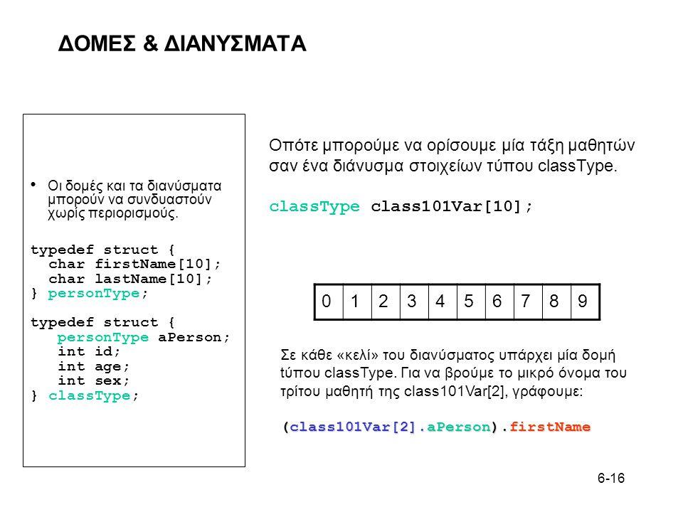 6-16 ΔΟΜΕΣ & ΔΙΑΝΥΣΜΑΤΑ • Οι δομές και τα διανύσματα μπορούν να συνδυαστούν χωρίς περιορισμούς. typedef struct { char firstName[10]; char lastName[10]