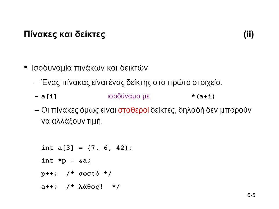 6-5 Πίνακες και δείκτες(ii) • Ισοδυναμία πινάκων και δεικτών –Ένας πίνακας είναι ένας δείκτης στο πρώτο στοιχείο. –a[i] ισοδύναμο με *(a+i) –Οι πίνακε