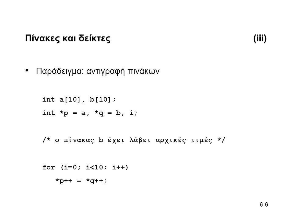6-6 Πίνακες και δείκτες(iii) • Παράδειγμα: αντιγραφή πινάκων int a[10], b[10]; int *p = a, *q = b, i; /* ο πίνακας b έχει λάβει αρχικές τιμές */ for (i=0; i<10; i++) *p++ = *q++;