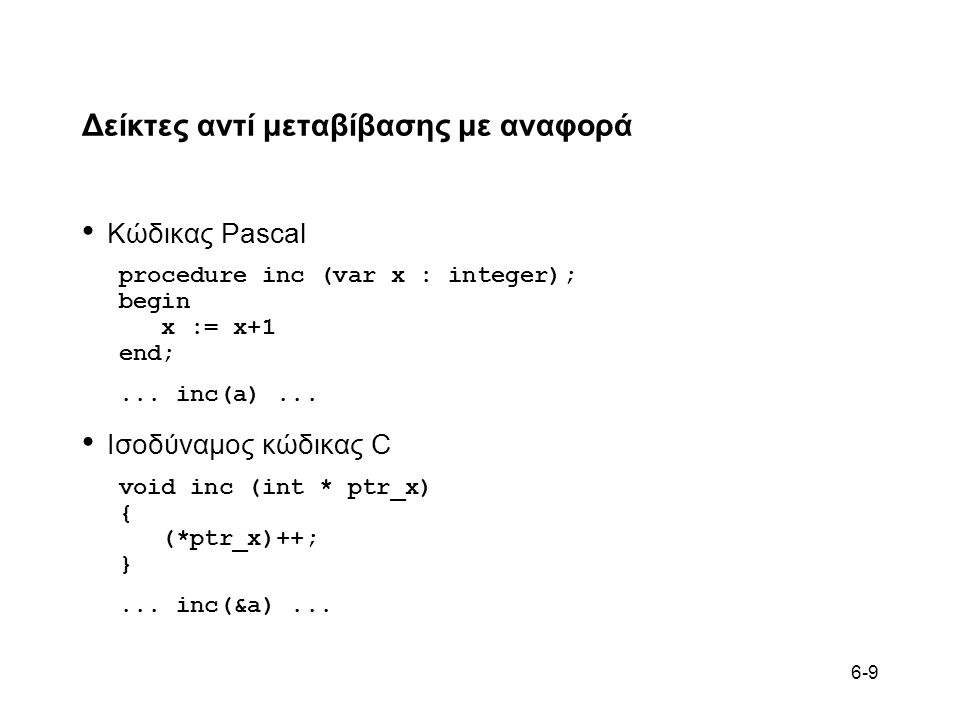 6-9 Δείκτες αντί μεταβίβασης με αναφορά • Κώδικας Pascal procedure inc (var x : integer); begin x := x+1 end;... inc(a)... • Ισοδύναμος κώδικας C void