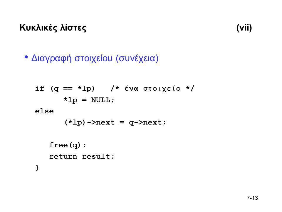 7-13 Κυκλικές λίστες(vii) • Διαγραφή στοιχείου (συνέχεια) if (q == *lp) /* ένα στοιχείο */ *lp = NULL; else (*lp)->next = q->next; free(q); return res