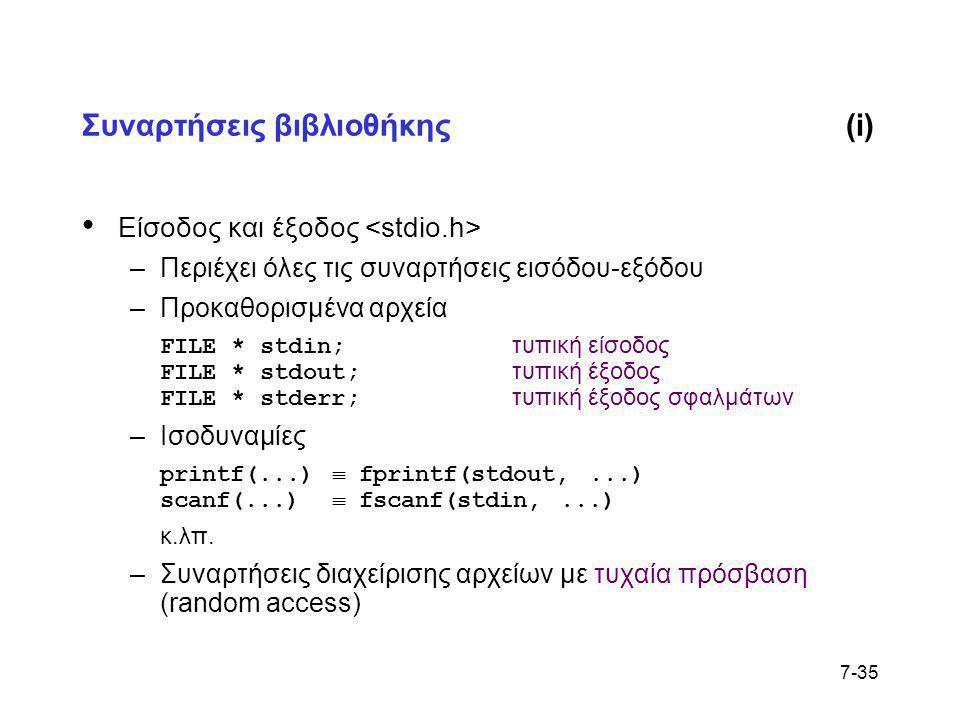 7-35 Συναρτήσεις βιβλιοθήκης(i) • Είσοδος και έξοδος –Περιέχει όλες τις συναρτήσεις εισόδου-εξόδου –Προκαθορισμένα αρχεία FILE * stdin; τυπική είσοδος