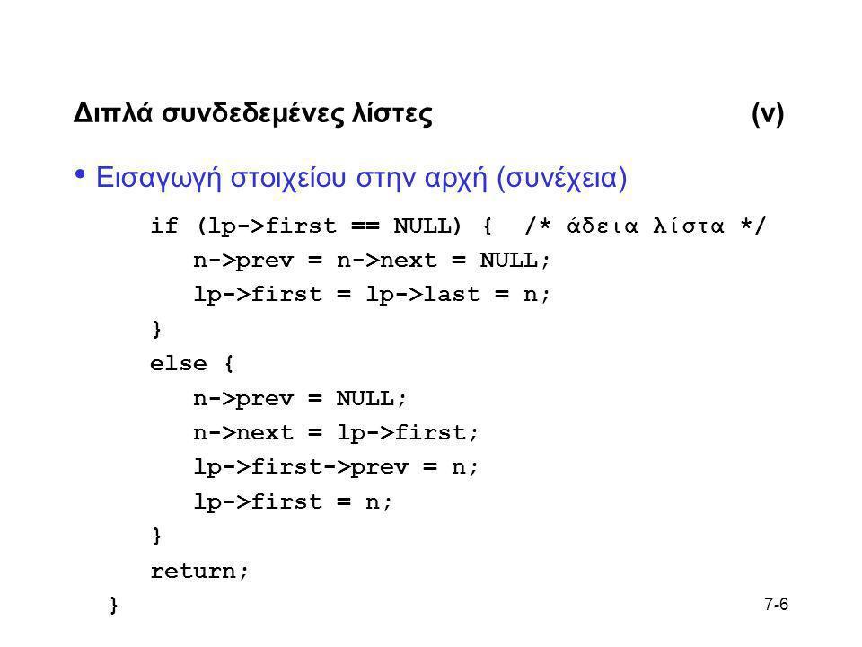 7-6 Διπλά συνδεδεμένες λίστες(v) • Εισαγωγή στοιχείου στην αρχή (συνέχεια) if (lp->first == NULL) { /* άδεια λίστα */ n->prev = n->next = NULL; lp->fi