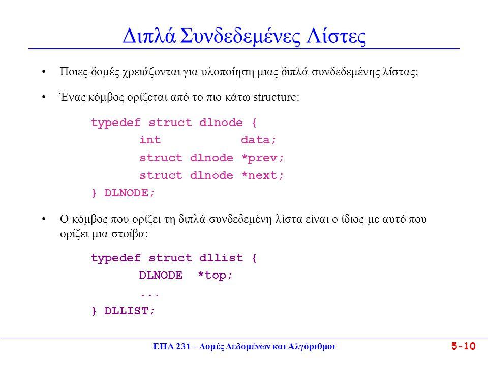 ΕΠΛ 231 – Δομές Δεδομένων και Αλγόριθμοι5-10 Διπλά Συνδεδεμένες Λίστες •Ποιες δομές χρειάζονται για υλοποίηση μιας διπλά συνδεδεμένης λίστας; •Ένας κό