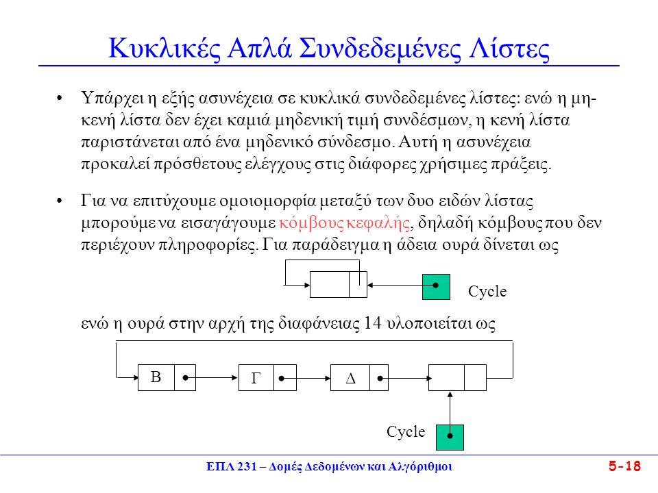 ΕΠΛ 231 – Δομές Δεδομένων και Αλγόριθμοι5-18 Κυκλικές Απλά Συνδεδεμένες Λίστες •Υπάρχει η εξής ασυνέχεια σε κυκλικά συνδεδεμένες λίστες  ενώ η μη- κε