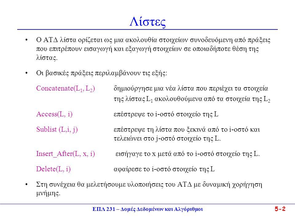 ΕΠΛ 231 – Δομές Δεδομένων και Αλγόριθμοι5-2 Λίστες •Ο ΑΤΔ λίστα ορίζεται ως μια ακολουθία στοιχείων συνοδευόμενη από πράξεις που επιτρέπουν εισαγωγή κ
