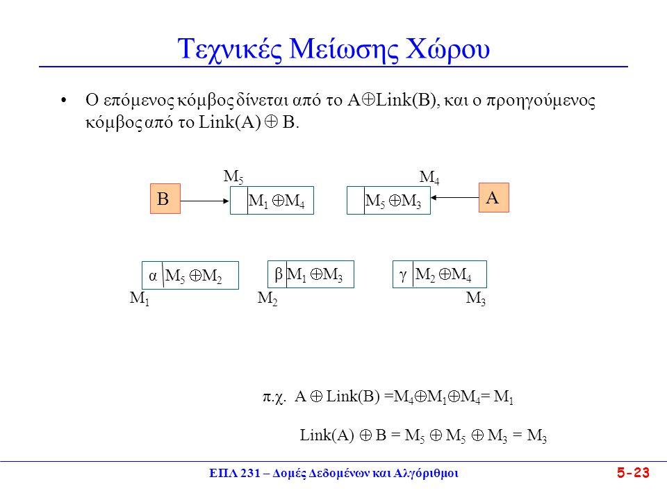 ΕΠΛ 231 – Δομές Δεδομένων και Αλγόριθμοι5-23 Τεχνικές Μείωσης Χώρου •Ο επόμενος κόμβος δίνεται από το A  Link(B), και ο προηγούμενος κόμβος από το Li