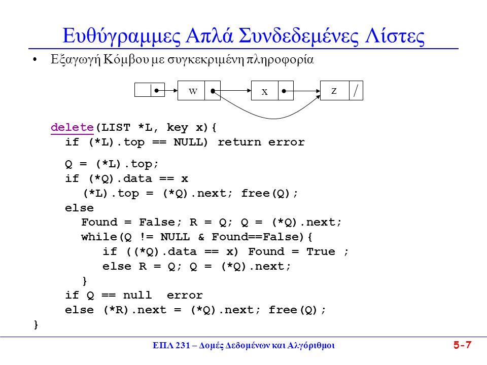ΕΠΛ 231 – Δομές Δεδομένων και Αλγόριθμοι5-18 Κυκλικές Απλά Συνδεδεμένες Λίστες •Υπάρχει η εξής ασυνέχεια σε κυκλικά συνδεδεμένες λίστες  ενώ η μη- κενή λίστα δεν έχει καμιά μηδενική τιμή συνδέσμων, η κενή λίστα παριστάνεται από ένα μηδενικό σύνδεσμο.