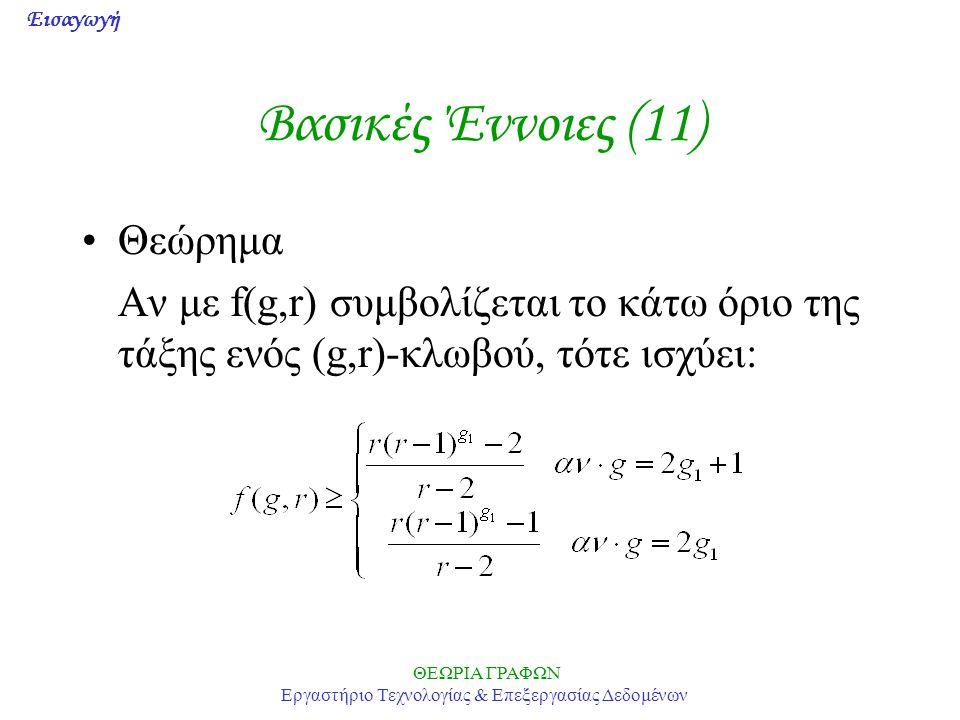 Εισαγωγή ΘΕΩΡΙΑ ΓΡΑΦΩΝ Εργαστήριο Τεχνολογίας & Επεξεργασίας Δεδομένων Βασικές Έννοιες (11) •Θεώρημα Αν με f(g,r) συμβολίζεται το κάτω όριο της τάξης