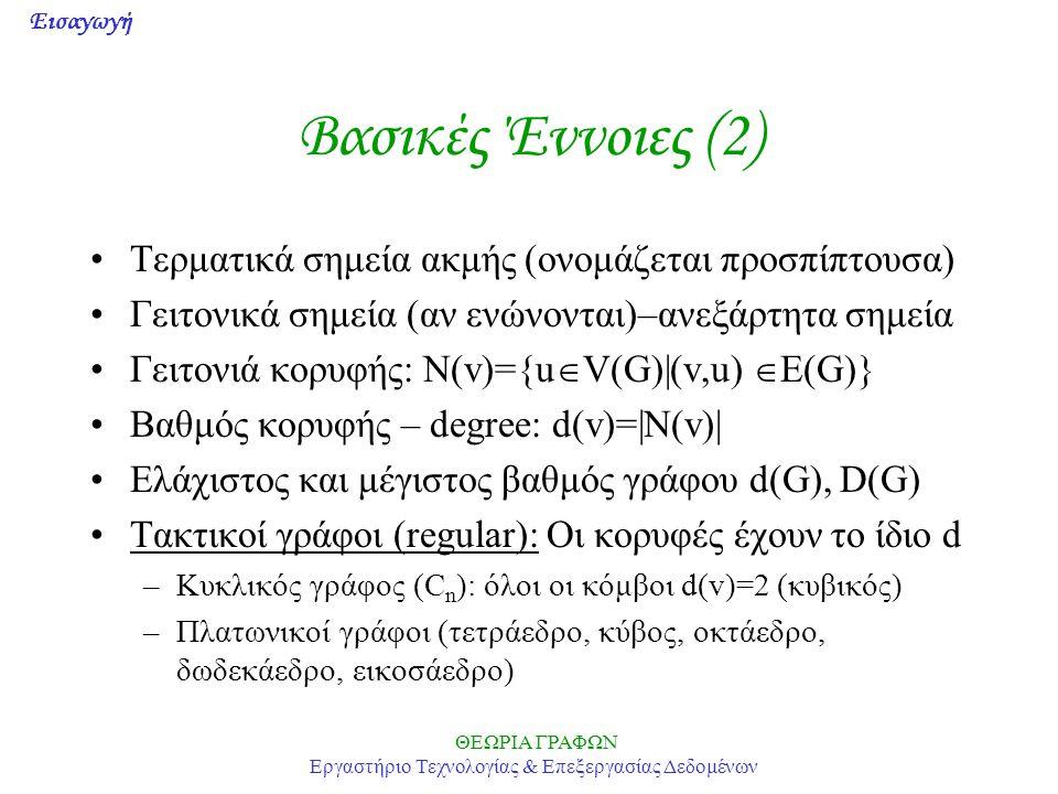 Εισαγωγή ΘΕΩΡΙΑ ΓΡΑΦΩΝ Εργαστήριο Τεχνολογίας & Επεξεργασίας Δεδομένων Ακολουθία Βαθμών (2) •Αλγόριθμος 1.Αν κάποιο d > n-1  OXI 2.Αν όλα μηδενικά  ΝΑΙ 3.Αν κάποιο αρνητικό  OXI 4.Αν χρειάζεται, η ακολουθία αναδιατάσσεται ώστε να είναι μη αύξουσα 5.Διαγράφεται ο πρώτος όρος (d 1 ) και αφαιρείται μία μονάδα από τους επόμενους d 1 όρους 6.Πήγαινε στο Βήμα 2