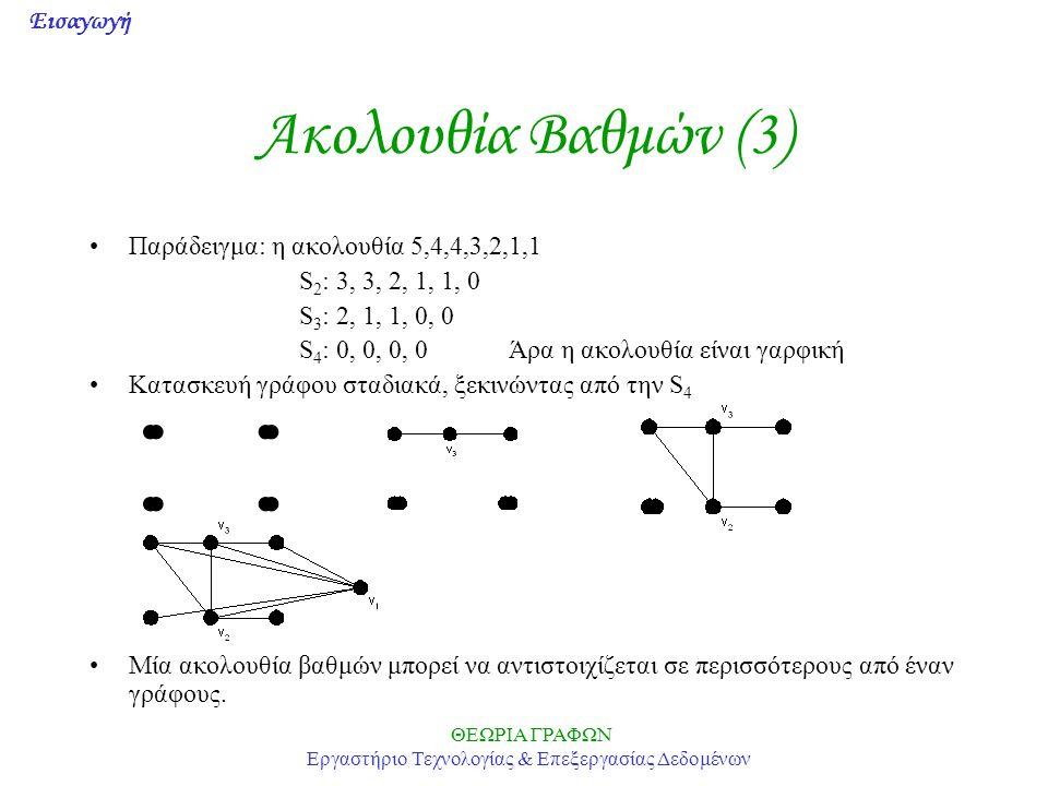 Εισαγωγή ΘΕΩΡΙΑ ΓΡΑΦΩΝ Εργαστήριο Τεχνολογίας & Επεξεργασίας Δεδομένων Ακολουθία Βαθμών (3) •Παράδειγμα: η ακολουθία 5,4,4,3,2,1,1 S 2 : 3, 3, 2, 1, 1