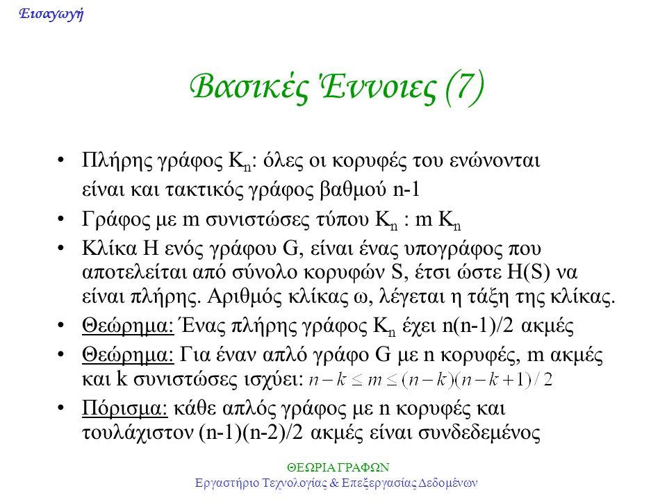 Εισαγωγή ΘΕΩΡΙΑ ΓΡΑΦΩΝ Εργαστήριο Τεχνολογίας & Επεξεργασίας Δεδομένων Πράξεις (7) •Η πράξη της ανταλλαγής ή αντιστροφής ακμών ταυτίζεται με τη διαγραφή δύο ακμών (v 1,v 2 ) και (v 3,v 4 ) και την εισαγωγή των ακμών (v 1,v 3 ) και (v 2,v 4 ), όπως στο σχήμα.