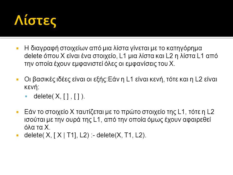  Η διαγραφή στοιχείων από μια λίστα γίνεται με το κατηγόρημα delete όπου Χ είναι ένα στοιχείο, L1 μια λίστα και L2 η λίστα L1 από την οποία έχουν εμφ