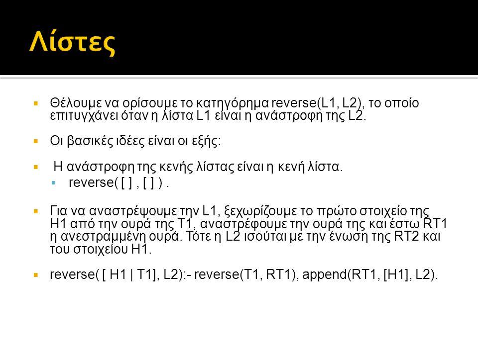  Θέλουμε να ορίσουμε το κατηγόρημα reverse(L1, L2), το οποίο επιτυγχάνει όταν η λίστα L1 είναι η ανάστροφη της L2.  Οι βασικές ιδέες είναι οι εξής: