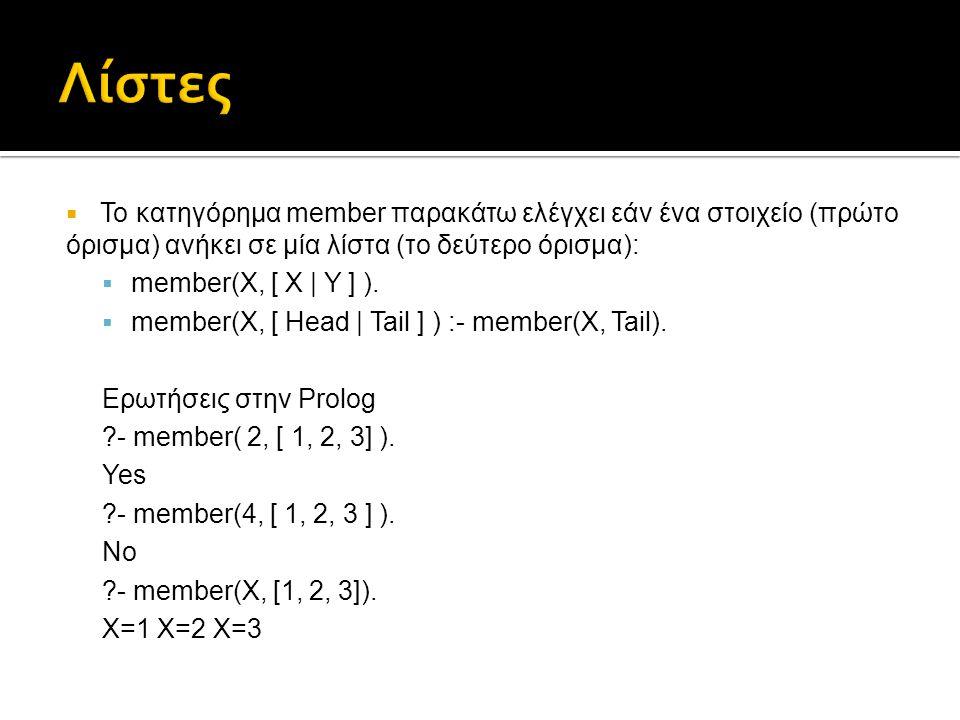  Το κατηγόρημα member παρακάτω ελέγχει εάν ένα στοιχείο (πρώτο όρισμα) ανήκει σε μία λίστα (το δεύτερο όρισμα):  member(X, [ X | Y ] ).  member(X,