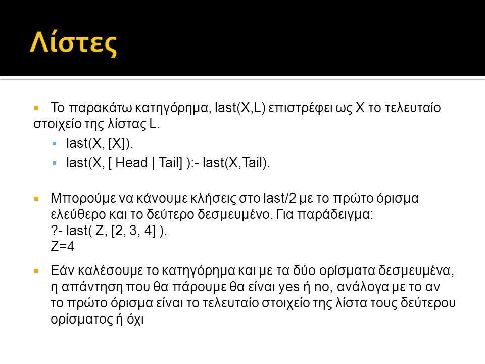  Το παρακάτω κατηγόρημα, last(X,L) επιστρέφει ως Χ το τελευταίο στοιχείο της λίστας L.  last(X, [X]).  last(X, [ Head | Tail] ):- last(X,Tail).  Μ