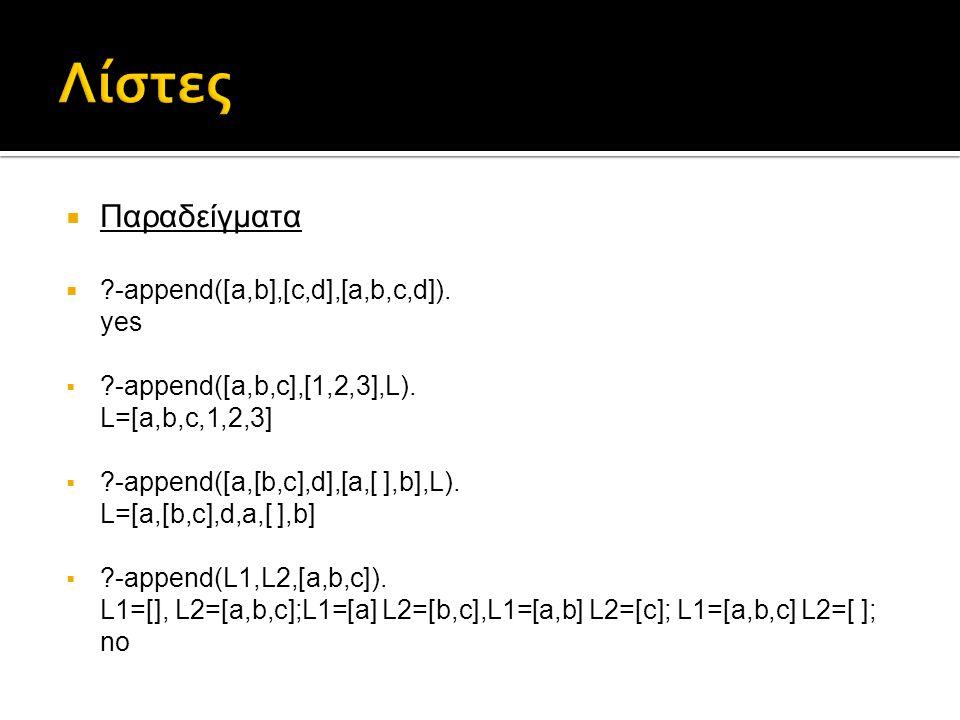  Παραδείγματα  ?-append([a,b],[c,d],[a,b,c,d]). yes  ?-append([a,b,c],[1,2,3],L). L=[a,b,c,1,2,3]  ?-append([a,[b,c],d],[a,[ ],b],L). L=[a,[b,c],d