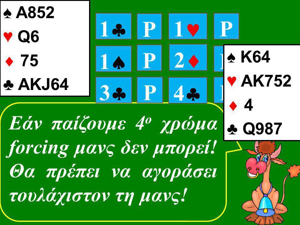 P P 11 P 11 P P 11 22 Εάν παίζουμε 4 ο χρώμα forcing μανς δεν μπορεί! Θα πρέπει να αγοράσει τουλάχιστον τη μανς! 33 P 44 ♠ Κ64 ♥ ΑΚ752  4