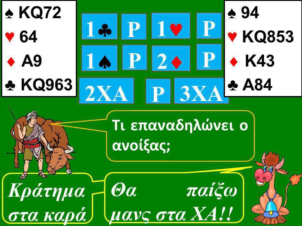 11 P 11 P P 11 22 Κράτημα στα καρά ♠ KQ72 ♥ 64  A9 ♣ KQ963 P 2XA P 3XA Θα παίξω μανς στα ΧΑ!! ♠ 94 ♥ KQ853  Κ43 ♣ A84 Τι επαναδηλώνει ο ανοί
