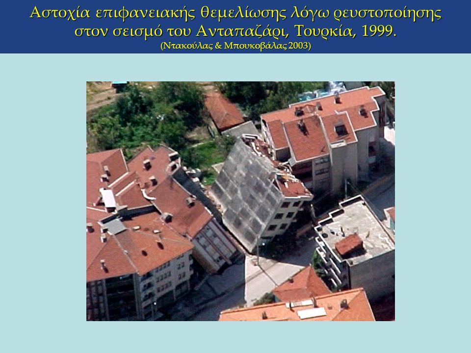Αστοχία επιφανειακής θεμελίωσης λόγω ρευστοποίησης στον σεισμό του Ανταπαζάρι, Τουρκία, 1999. (Ντακούλας & Μπουκοβάλας 2003)