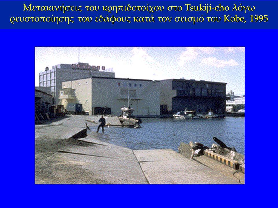 Μετακινήσεις του κρηπιδοτοίχου στο Tsukiji-cho λόγω ρευστοποίησης του εδάφους κατά τον σεισμό του Kobe, 1995