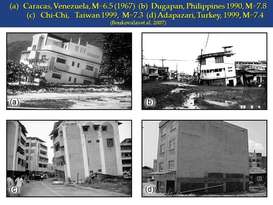 (a)Caracas, Venezuela, M=6.5 (1967) (b) Dugapan, Philippines 1990, M=7.8 (c) Chi-Chi, Taiwan 1999, M=7.3 (d) Adapazari, Turkey, 1999, M=7.4 (Boukovala