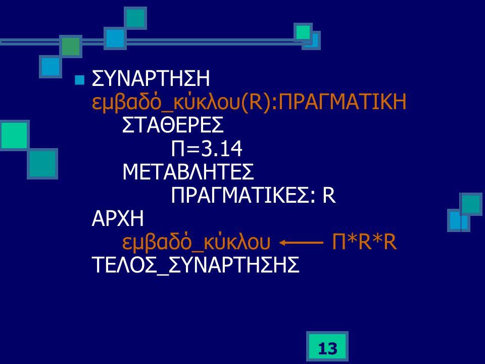 13  ΣΥΝΑΡΤΗΣΗ εμβαδό_κύκλου(R):ΠΡΑΓΜΑΤΙΚΗ ΣΤΑΘΕΡΕΣ Π=3.14 ΜΕΤΑΒΛΗΤΕΣ ΠΡΑΓΜΑΤΙΚΕΣ: R ΑΡΧΗ εμβαδό_κύκλου Π*R*R ΤΕΛΟΣ_ΣΥΝΑΡΤΗΣΗΣ