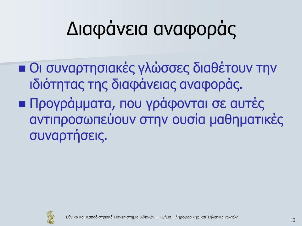 Εθνικό και Καποδιστριακό Πανεπιστήμιο Αθηνών – Τμήμα Πληροφορικής και Τηλεπικοινωνιών 10 Διαφάνεια αναφοράς  Οι συναρτησιακές γλώσσες διαθέτουν την ι