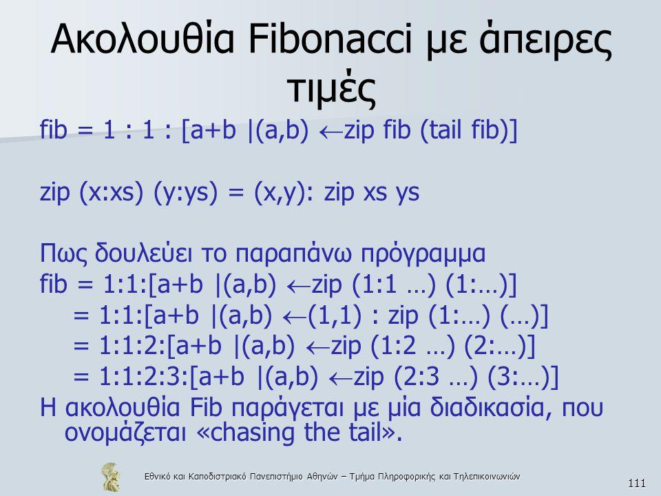 Εθνικό και Καποδιστριακό Πανεπιστήμιο Αθηνών – Τμήμα Πληροφορικής και Τηλεπικοινωνιών 111 Ακολουθία Fibonacci με άπειρες τιμές fib = 1 : 1 : [a+b |(a,b)  zip fib (tail fib)] zip (x:xs) (y:ys) = (x,y): zip xs ys Πως δουλεύει το παραπάνω πρόγραμμα fib = 1:1:[a+b |(a,b)  zip (1:1 …) (1:…)] = 1:1:[a+b |(a,b)  (1,1) : zip (1:…) (…)] = 1:1:2:[a+b |(a,b)  zip (1:2 …) (2:…)] = 1:1:2:3:[a+b |(a,b)  zip (2:3 …) (3:…)] Η ακολουθία Fib παράγεται με μία διαδικασία, που ονομάζεται «chasing the tail».