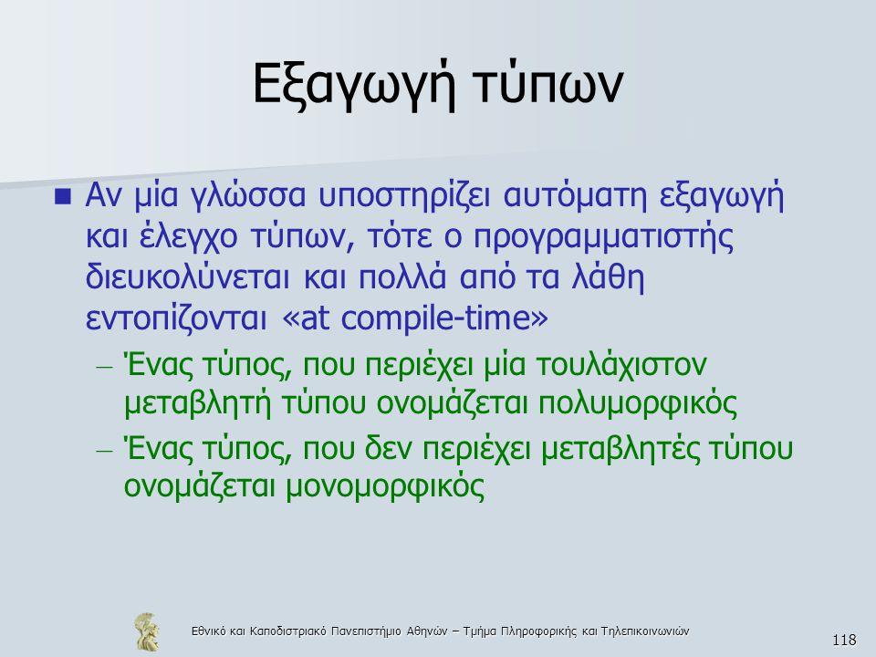 Εθνικό και Καποδιστριακό Πανεπιστήμιο Αθηνών – Τμήμα Πληροφορικής και Τηλεπικοινωνιών 118 Εξαγωγή τύπων  Αν μία γλώσσα υποστηρίζει αυτόματη εξαγωγή κ