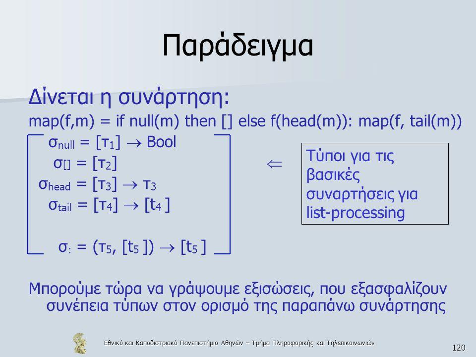 Εθνικό και Καποδιστριακό Πανεπιστήμιο Αθηνών – Τμήμα Πληροφορικής και Τηλεπικοινωνιών 120 Παράδειγμα Δίνεται η συνάρτηση: map(f,m) = if null(m) then [