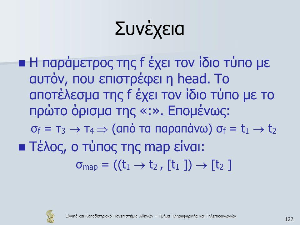 Εθνικό και Καποδιστριακό Πανεπιστήμιο Αθηνών – Τμήμα Πληροφορικής και Τηλεπικοινωνιών 122 Συνέχεια  Η παράμετρος της f έχει τον ίδιο τύπο με αυτόν, που επιστρέφει η head.