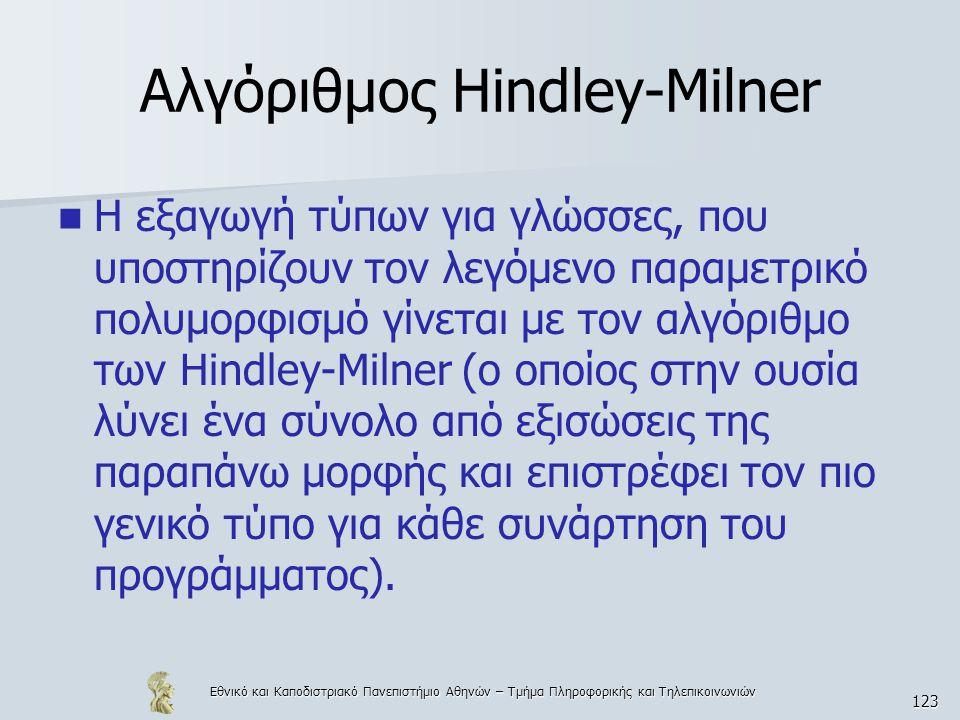 Εθνικό και Καποδιστριακό Πανεπιστήμιο Αθηνών – Τμήμα Πληροφορικής και Τηλεπικοινωνιών 123 Αλγόριθμος Hindley-Milner  Η εξαγωγή τύπων για γλώσσες, που