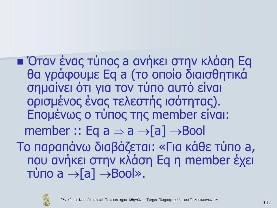 Εθνικό και Καποδιστριακό Πανεπιστήμιο Αθηνών – Τμήμα Πληροφορικής και Τηλεπικοινωνιών 132  Όταν ένας τύπος a ανήκει στην κλάση Eq θα γράφουμε Eq a (το οποίο διαισθητικά σημαίνει ότι για τον τύπο αυτό είναι ορισμένος ένας τελεστής ισότητας).