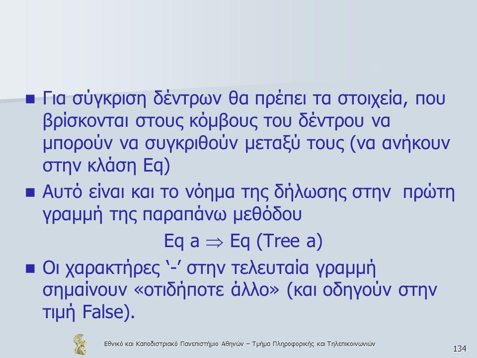 Εθνικό και Καποδιστριακό Πανεπιστήμιο Αθηνών – Τμήμα Πληροφορικής και Τηλεπικοινωνιών 134  Για σύγκριση δέντρων θα πρέπει τα στοιχεία, που βρίσκονται στους κόμβους του δέντρου να μπορούν να συγκριθούν μεταξύ τους (να ανήκουν στην κλάση Eq)  Αυτό είναι και το νόημα της δήλωσης στην πρώτη γραμμή της παραπάνω μεθόδου Eq a  Eq (Tree a)  Οι χαρακτήρες '-' στην τελευταία γραμμή σημαίνουν «οτιδήποτε άλλο» (και οδηγούν στην τιμή False).