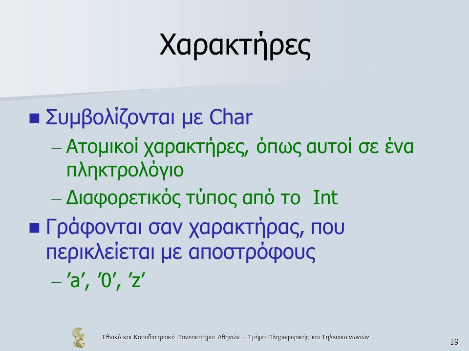 Εθνικό και Καποδιστριακό Πανεπιστήμιο Αθηνών – Τμήμα Πληροφορικής και Τηλεπικοινωνιών 19 Χαρακτήρες  Συμβολίζονται με Char – Ατομικοί χαρακτήρες, όπως αυτοί σε ένα πληκτρολόγιο – Διαφορετικός τύπος από το Int  Γράφονται σαν χαρακτήρας, που περικλείεται με αποστρόφους – 'a', '0', 'z'