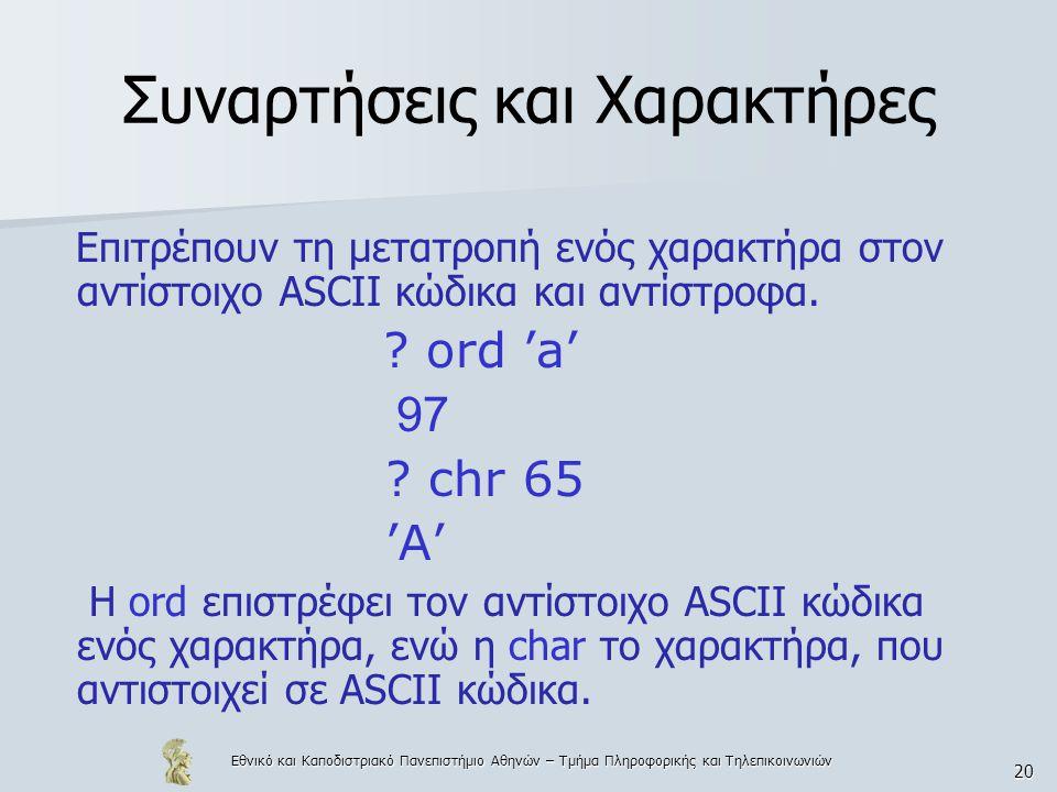 Εθνικό και Καποδιστριακό Πανεπιστήμιο Αθηνών – Τμήμα Πληροφορικής και Τηλεπικοινωνιών 20 Συναρτήσεις και Χαρακτήρες Επιτρέπουν τη μετατροπή ενός χαρακτήρα στον αντίστοιχο ASCII κώδικα και αντίστροφα.