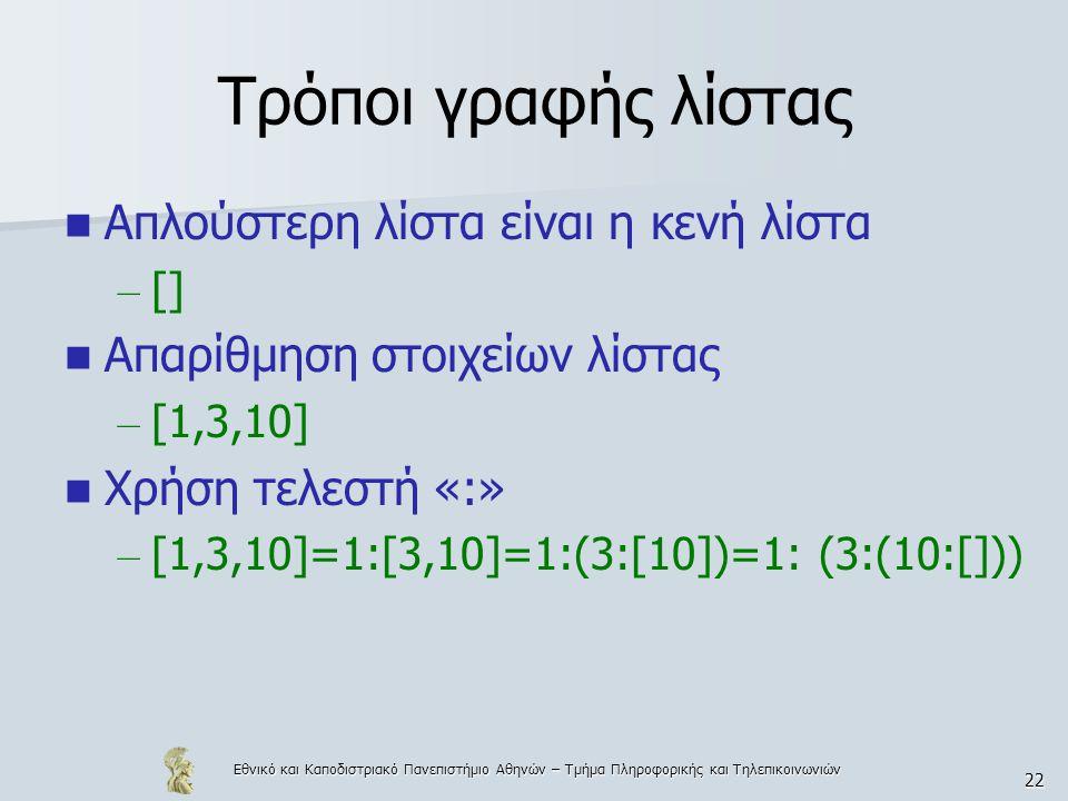 Εθνικό και Καποδιστριακό Πανεπιστήμιο Αθηνών – Τμήμα Πληροφορικής και Τηλεπικοινωνιών 22 Τρόποι γραφής λίστας  Απλούστερη λίστα είναι η κενή λίστα – []  Απαρίθμηση στοιχείων λίστας – [1,3,10]  Χρήση τελεστή «:» – [1,3,10]=1:[3,10]=1:(3:[10])=1: (3:(10:[]))