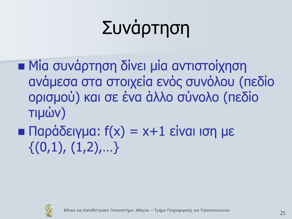 Εθνικό και Καποδιστριακό Πανεπιστήμιο Αθηνών – Τμήμα Πληροφορικής και Τηλεπικοινωνιών 25 Συνάρτηση  Μία συνάρτηση δίνει μία αντιστοίχηση ανάμεσα στα στοιχεία ενός συνόλου (πεδίο ορισμού) και σε ένα άλλο σύνολο (πεδίο τιμών)  Παράδειγμα: f(x) = x+1 είναι ιση με {(0,1), (1,2),…}
